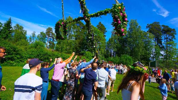 Raising the Midsummer Pole