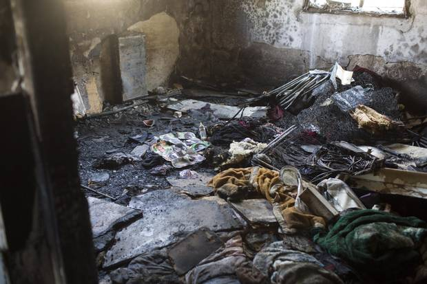 The remains of the house where 18-month-old Ali Saad-Dawabsheh was killed are shown on July 31, 2015.