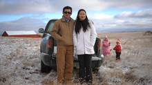 Sheldon Zou, wife Linda Liu and their daughters Jennifer and Angela on their land outside of Ogema, Sask. (MARK TAYLOR FOR THE GLOBE AND MAIL)