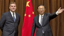 Foreign Affairs Minister John Baird meets the press with his counterpart in Beijing, Yang Jiechi, on July 18, 2011. (Andy Wong/The Associated Press)