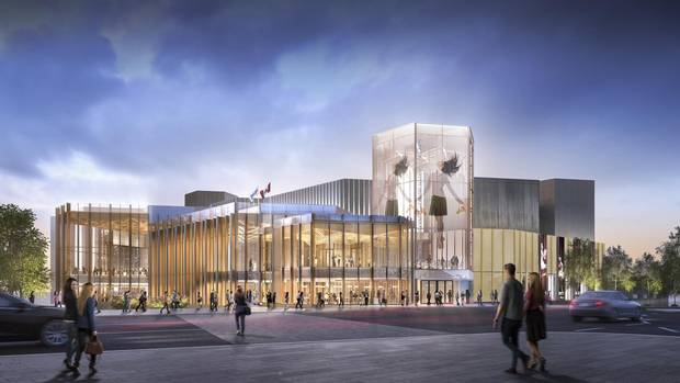 A renovation at the National Arts Centre in Ottawa will replacing some of the complex's outdoor terraces with three wings of heavy timber, wrapped in a glass and perforated aluminum curtain wall.