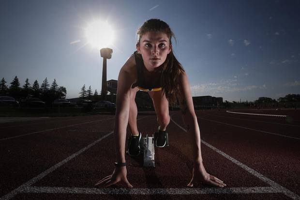 Tracie Leost, 18, a distance runner who will run the 1500m, 3000m and 6km cross-country in the North American Indigenous Games trains at the University of Manitoba Wednesday, July 5, 2017.