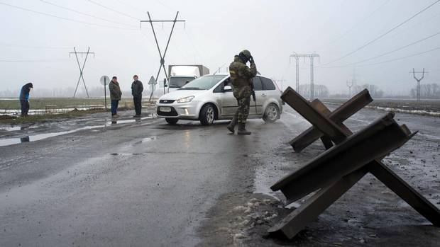 The Ukrainian border checkpoint at Kurakhove: Travel to and from the breakaway republic of Donetsk is restricted and closely supervised.