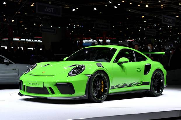 The new Porsche 911 GT3 RS on display at the Geneva International Motor Show on March 6, 2018.