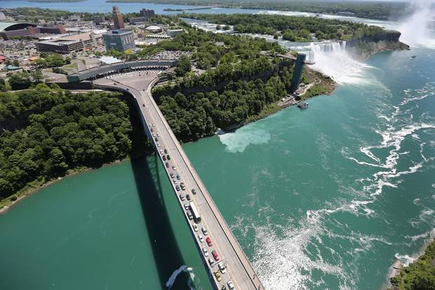 The Rainbow Bridge crosses from the United States into Canada near Niagara Falls. The United States is Canada's largest trading partner.