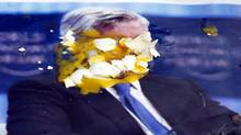 A poster of JPMorgan CEO Jamie Dimon is covered with eggs thrown by protesters, outside the gate of the bank's annual stockholders meeting, Tuesday, May 15, 2012, in Tampa, Fla. (Scott Iskowitz/Associated Press/Scott Iskowitz/Associated Press)