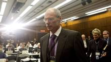 Economist Don Drummond arrives at a news conference in Toronto on Wednesday. (Chris Young/THE CANADIAN PRESS)