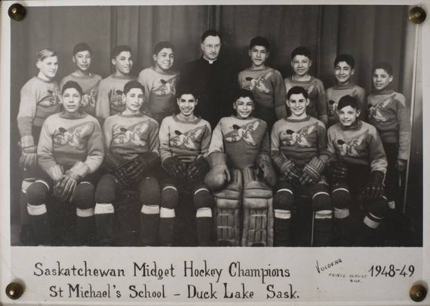 Sasakamoose's midget hockey team won the provincial title in 1948-49.