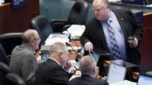 Toronto Mayor Rob Ford attends a council meeting to discuss the city's 2013 proposed budget debate in Toronto, Jan.15, 2013. (Michelle Siu/The Globe and Mail)