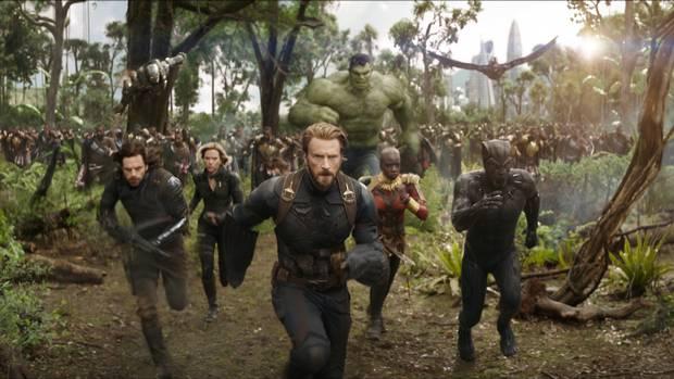Left to right: Don Cheadle as War Machine, Sebastian Stan as Winter Soldier, Scarlett Johansson as Black Widow, Chris Evans as Captain America, Mark Ruffalo as the Hulk, Danai Gurira as Okoye, Anthony Mackie as Falcon and Chadwick Boseman as Black Panther in Avengers: Infinity War.
