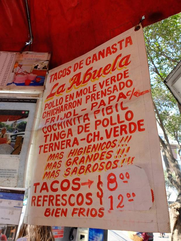 Tacos de Canasta, ready-made tacos sold from a basket, are among the boundless snack choices to be found on Mexico City's streets.