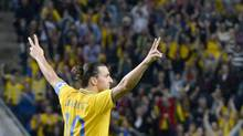 Sweden's Zlatan Ibrahimovic celebrates his third goal during their international friendly soccer match against England at the Friends Arena in Stockholm November 14, 2012. (SCANPIX SWEDEN/REUTERS)