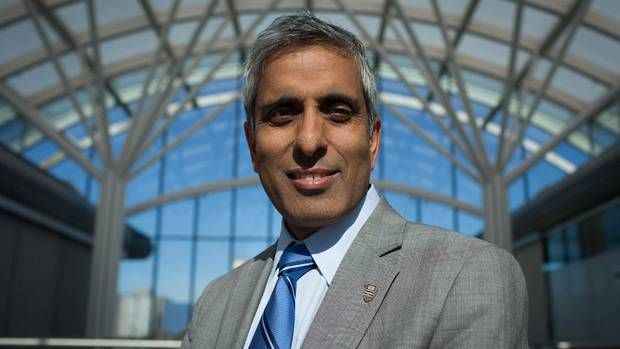 Former University of British Columbia President Dr. Arvind Gupta stands for a photograph on campus in Vancouver, B.C., on Friday September 5, 2014.