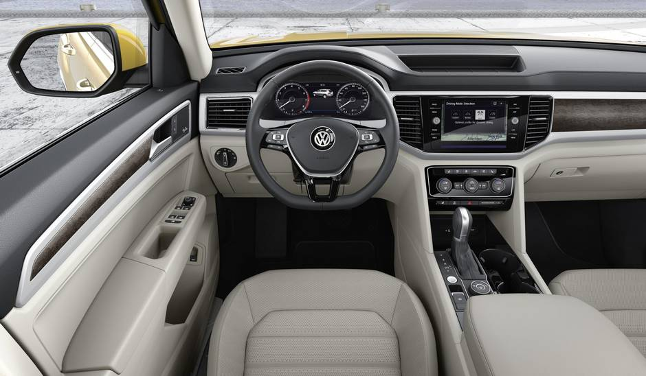 volkswagen unveils new 2018 atlas. plain atlas as expected the atlas will be available with latest slate of advanced  driver aids and connectivity features optional safety systems include adaptive  inside volkswagen unveils new 2018 atlas