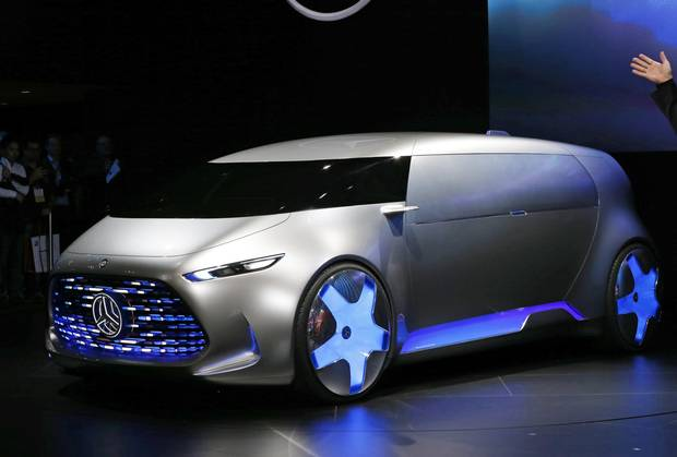 Mercedes-Benz's concept car Vision Tokyo is unveiled at the media preview for the Tokyo Motor Show in Tokyo Wednesday, Oct. 28, 2015.