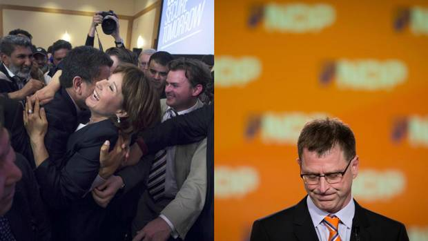 B.C. Premier Christy Clark, left, and former NDP leader Adrian Dix react to the 2013 provincial election results – which were considerably different than what pollsters predicted. Ahead of the vote, polls showed the NDP headed for a landslide, but the party instead lost badly to Ms. Clark's incumbent Liberals.