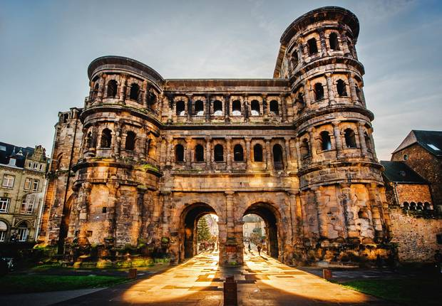 The imposing, second-century sandstone Porta Nigra offers excellent views of Trier, Germany.