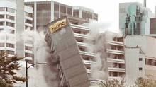 Hundreds of people showed up to watch the implosion of the YWCA building in downtown Vancouver in 1997. (Nick Procaylo)