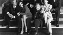 Street Legal, 1993 / 1994 season. Front Row, from left: C. David Johnson, Cynthia Dale, Eric Peterson, Julie Khaner. Back Row, from left: Albert Schultz, Maria Del Mar, Ron Lea and Anthony Sherwood. (Gail Harvey)