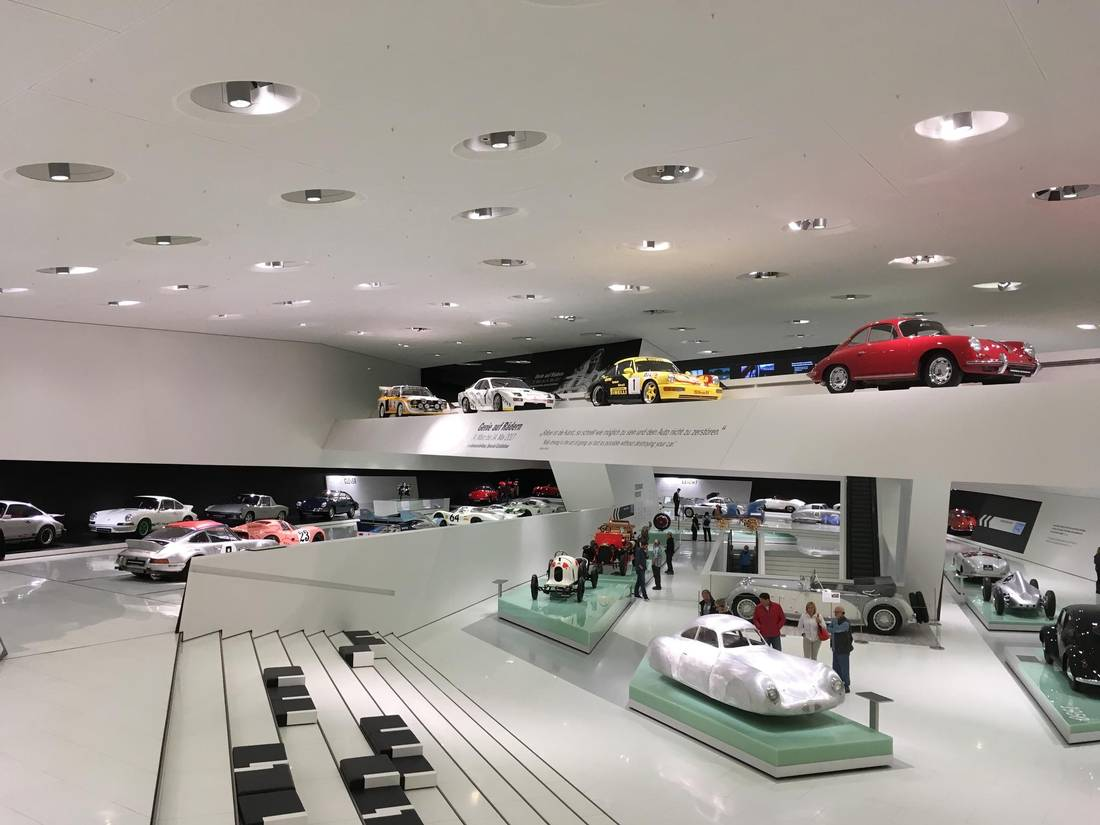 The Porsche Museum in Stuttgart, Germany, takes up an entire city block.