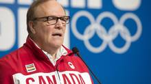 Canadian Olympic Committee President Marcel Aubut speaks during a news conference at the Sochi Winter Olympics Thursday February 6, 2014 in Sochi, Russia. (Adrian Wyld/THE CANADIAN PRESS)