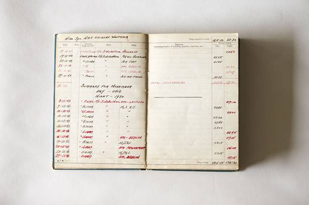Jack Maclean Mason's logbook records their sorties for the winter of 1943.