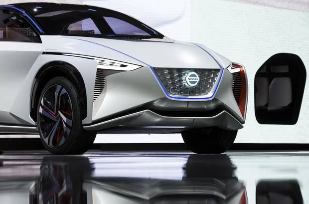 Nissan Motor Co.'s IMx EV concept vehicle is displayed during the Tokyo Motor Show at Tokyo Big Sight on October 25, 2017.