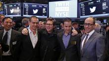 Twitter executives Dick Costolo (R), Evan Williams (2nd R), Biz Stone (C) and Jack Dorsey (2nd L) celebrate as Twitter IPO begins on the floor of the New York Stock Exchange in New York, November 7, 2013. (LUCAS JACKSON/REUTERS)