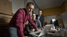 Ronald J. Deibert, Nart Villeneuve and Greg Walton discovered the spying operation they dubbed GhostNet. They are seen at the Munk Centre on March 29 2009. (JENNIFER ROBERTS/JENNIFER ROBERTS FOR THE GLOBE AND MAIL)