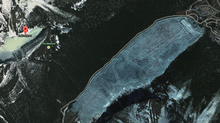 A screenshot of Lake Agnes in relation to Lake Louise. Parks Canada says two snowshoers have died after being buried in an avalanche there. (Google Maps)
