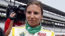IndyCar driver Simona De Silvestro of Switzerland, reacts after her run on the final day of qualifications for the Indianapolis 500 auto race at the Indianapolis Motor Speedway in Indianapolis, Sunday, May 20, 2012. (Tom Strattman/THE CANADIAN PRESS)