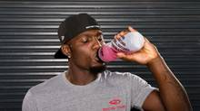 "Dallas Cowboys receiver Dez Bryant is not paid to endorse BioSteel's ""pink drink"" performance sport drink, the company says. (BioSteel)"