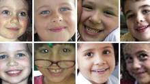 A combination of handout pictures shows eight of the 20 young schoolchildren killed at Sandy Hook Elementary School in Newtown, Conn., on Dec.14, 2012. The children in the picture are (top row, left to right) Olivia Engel, Grace McDonnell, Jesse Lewis and Noah Pozner; (bottom row, left to right) Jessica Rekos, Josephine Gay, Ana Marquez-Greene and Avielle Richman. (REUTERS)