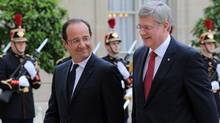 Prime Minister Stephen Harper meets with French President Francois Hollande at the Palais de l'Elysee in Paris, France on Thursday, June 7, 2012 (Sean Kilpatrick/The Canadian Press)