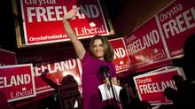 Liberal Candidate Chrystia Freeland celebrates after winning the Toronto Centre Federal by-election in Toronto on Nov. 25, 2013. (MOE DOIRON/THE GLOBE AND MAIL)