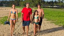 "(Left to right) Shailene Woodley, George Clooney, Amara Miller and Nick Krause in a scene from ""The Descendants"""