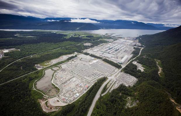 The Rio Tinto smelter facility is seen in this aerial photo taken near Kitimat, B.C., on June 6, 2015.