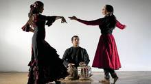 Bageshree Vaze (right) is an Indian classical (Kathak) dancer, tabla player Vineet Vyas and flamenco dancer Ilse Gudino rehearse a performance at Harbourfront Centre April 27, 2011. (Moe Doiron/The Globe and Mail/Moe Doiron/The Globe and Mail)