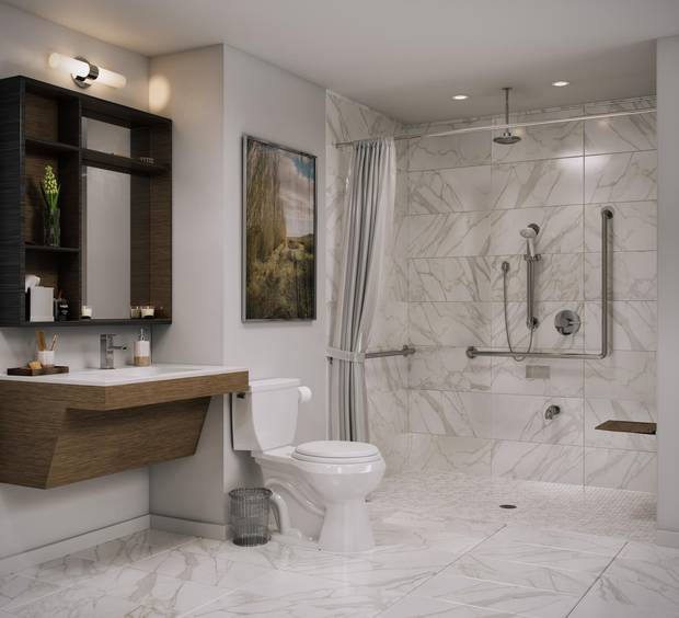 A wheelchair-accessible bathroom with a barrier-free shower.