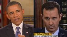 U.S. President Barack Obama, left, talks to PBS NewsHour's Gwen Ifill Monday, saying he favours diplomacy rather than a military strike against Syria. At right, Syrian President Bashar al-Assad responds to a question from U.S. journalist Charlie Rose in an interview broadcast Monday.