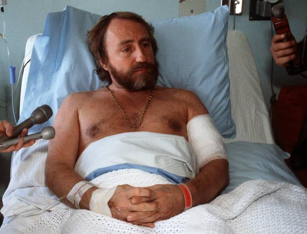 Peter Pocklington rests in hospital after a 12 hour hostage taking ordeal at Pocklington Financial Corporation April 20, 1982. Pocklington was shot during the rescue but not serious.