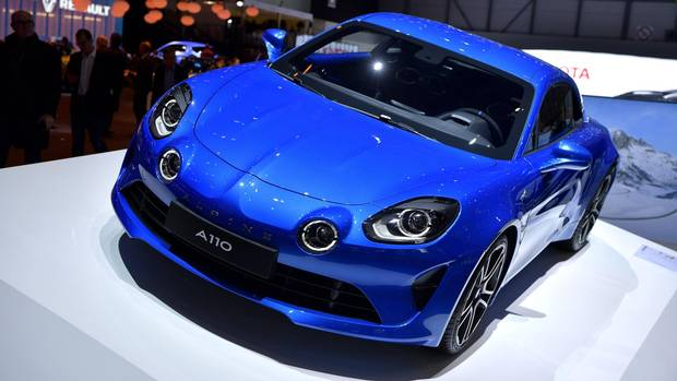 An Alpine A110 is displayed during the 87th Geneva International Motor Show on March 8, 2017 in Geneva, Switzerland.