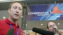Defence Minister Peter MacKay speaks with reporters at the Conservative Party policy convention in Ottawa ib June 10, 2011. (Adrian Wyld/THE CANADIAN PRESS)