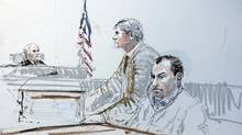 FILE PHOTO: In this courtroom drawing, U.S. District Judge John C. Coughenour, left, hands down the sentencing of Ahmed Ressam (right) with defense attorney Tom Hillier (center) Wednesday, July 27, 2005 at the Federal Courthouse in Seattle. Ressam was sentenced to 22 years in prison for plotting to blow up the Los Angeles airport on the eve of the millennium. (Peter Millet/AP)