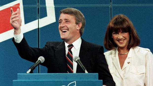 Brian Mulroney and his wife, Mila, wave to supporters on election night on Sept. 4, 1984.