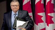 Liberal MP Ralph Goodale arrives at a news conference on Conservative funding for AIDS research in Ottawa on July 20, 2010. (The Canadian Press)