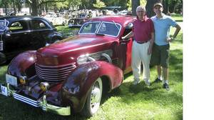 Bill McLaughlin and son Kevin with 1937 Cord Westchester.