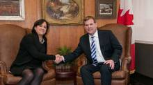 Vivian Bercovici is congratulated by Foreign Affairs Minister John Baird over her appointment as Canadian ambassador to Israel. (Government of Canada)