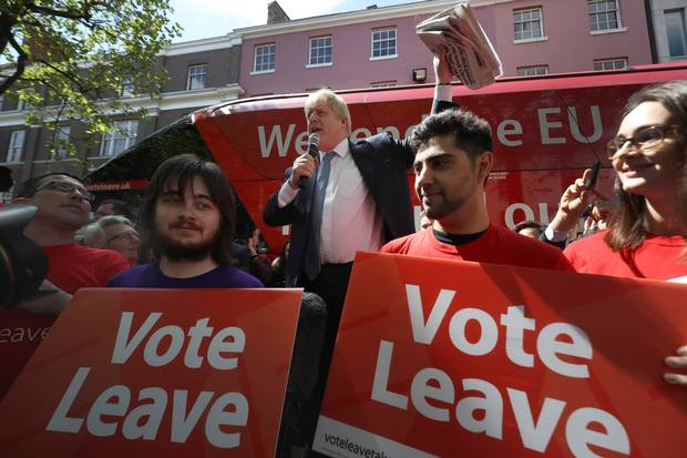 Boris Johnson stumps for the Vote Leave campaign.