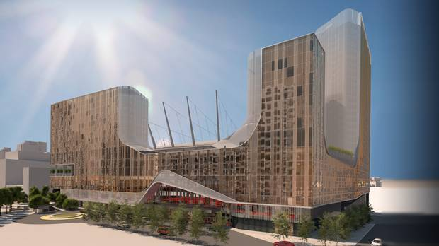 An artist's rendering of the Parq Vancouver casino complex in Vancouver.